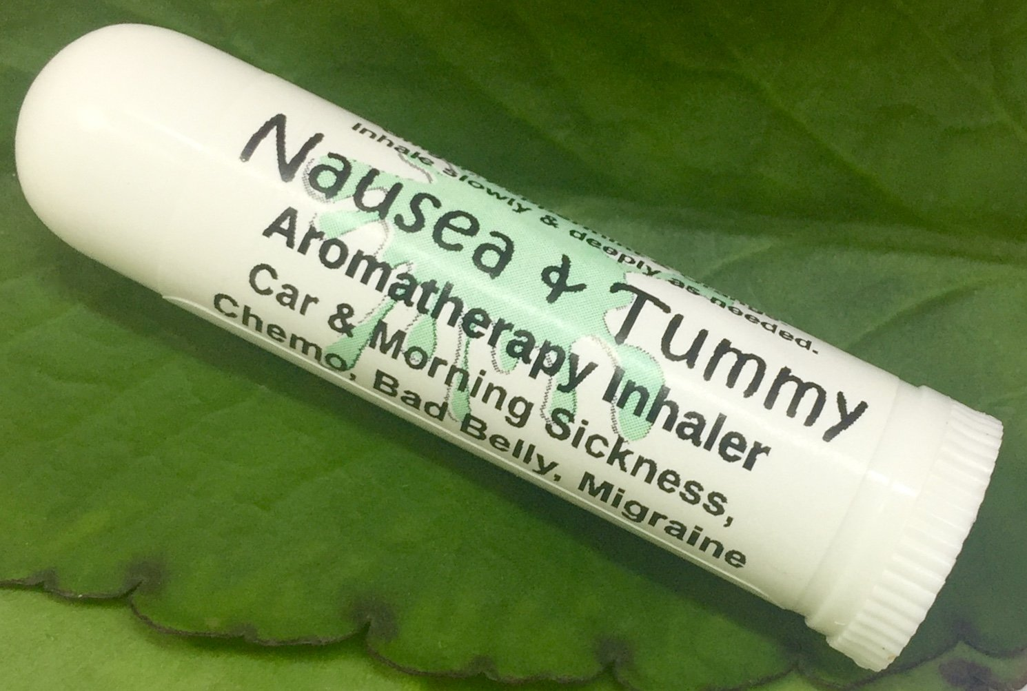 NAUSEA & TUMMY Aromatherapy Inhaler! Relief for Car & Morning Sickness, Chemo Queasiness, Bad Belly, Migraine Quease, Medication illness! Pocket Purse Stick, Handy Portable. Inhale Deeply for fast relief. 100% Natural Botanicals. Made fresh in USA! Drug Free Alternative