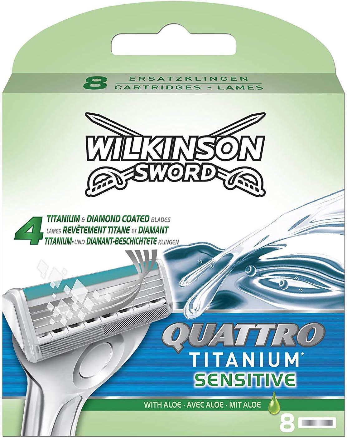 Wilkinson Sword Quattro Titanium - Cargador de 8 Recambios de Cuchillas de Afeitar para Hombre de 4 Hojas de Titanio, Afeitado Manual Masculino