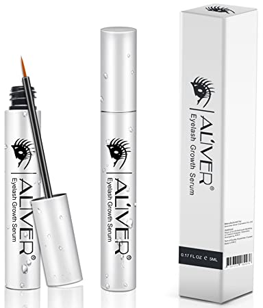 e8cfe1bf4d6 Amazon.com: Eyelash Growth Serum, Aliver Natural Extract Lash and Brow  Enhancer Essence for Rapid Grow Long Thick Full Eyelashes and Eyebrows(5ml,  ...