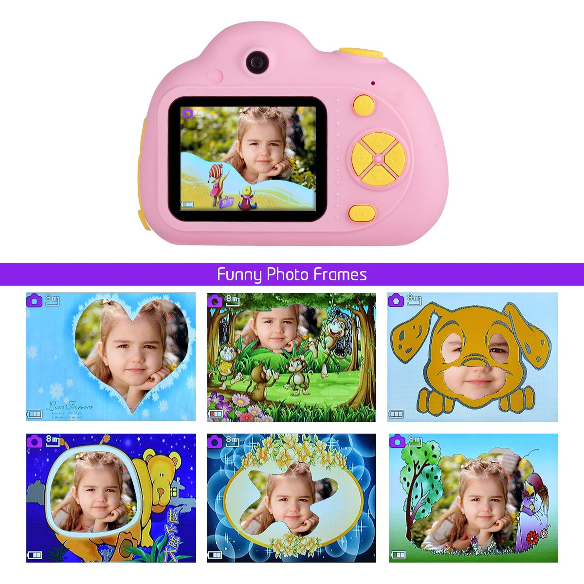 Funkprofi Kids Camera 1080P 8MP Front & Rear Camera Clear Digital Recorder Camcorder for Kids, Selfie Function, Funny Frames, Face Recognition, Support 32GB Memory Card, Best Gift for Boys and Girls by Funkprofi (Image #4)