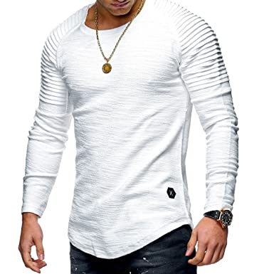 Amazon.com  SCX Round Neck Slim Solid Color Long Sleeve Striped Fold Raglan Sleeves  T Shirt  Clothing 8b59c57b0d1