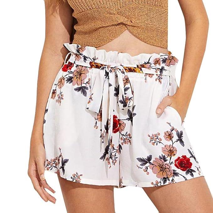 3bd903b1bd7c Damen Hosen Sommer LHWY Frauen Blumendruck Casual Gürtel Shorts Elegant  Vintage Lose Mode Kleider Pants Lady