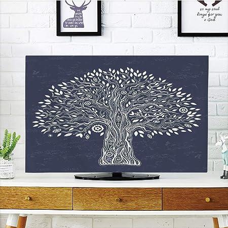 iprint LCD TV Cubierta de Polvo, árbol de la Vida, Silueta de Plantas raíces y Ramas Reflejo Sombra monocromática ilustración, Negro Blanco, diseño de impresión 3D Compatible 32 Pulgadas TV: Amazon.es: Hogar