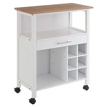 Premier Housewares 2403410 - Carrito de cocina (madera de bambú), color blanco