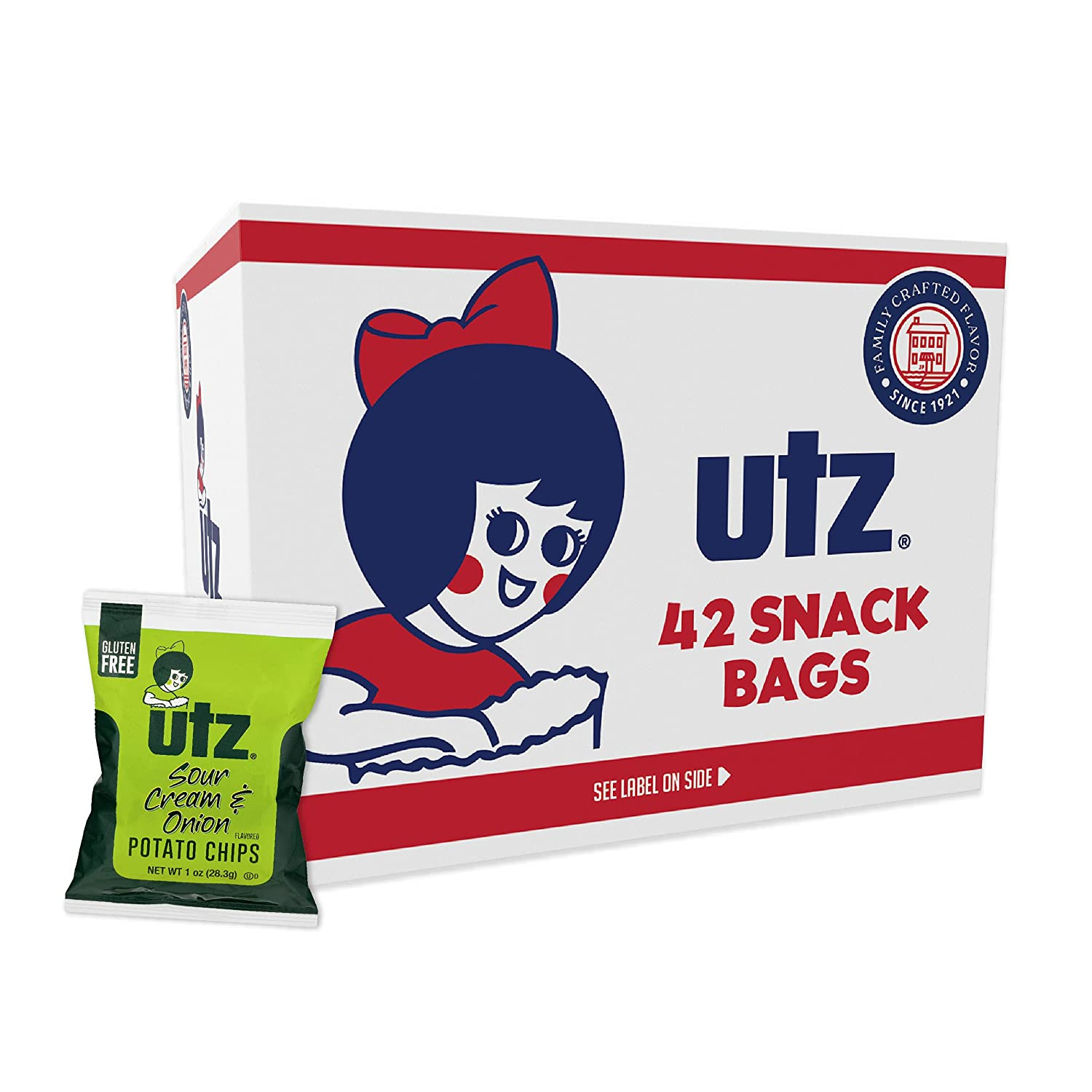 Utz Potato Chips, Sour Cream & Onion – 1 oz. Bags (42 Count) – Crispy Potato Chips Made from Fresh Potatoes, Crunchy Individual Snacks to Go, Gluten Free Snacks,(Pack of 1)