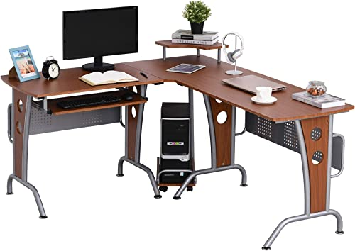 HomCom L-Shaped Corner Computer Office Desk Workstation