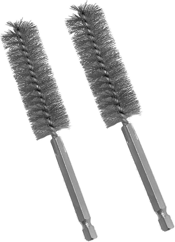 Steel Bristles 1 Diameter 5-1//2 Length Double Stem Double Spiral Power Tube Brush Weiler 21115 0.0104 Wire Size