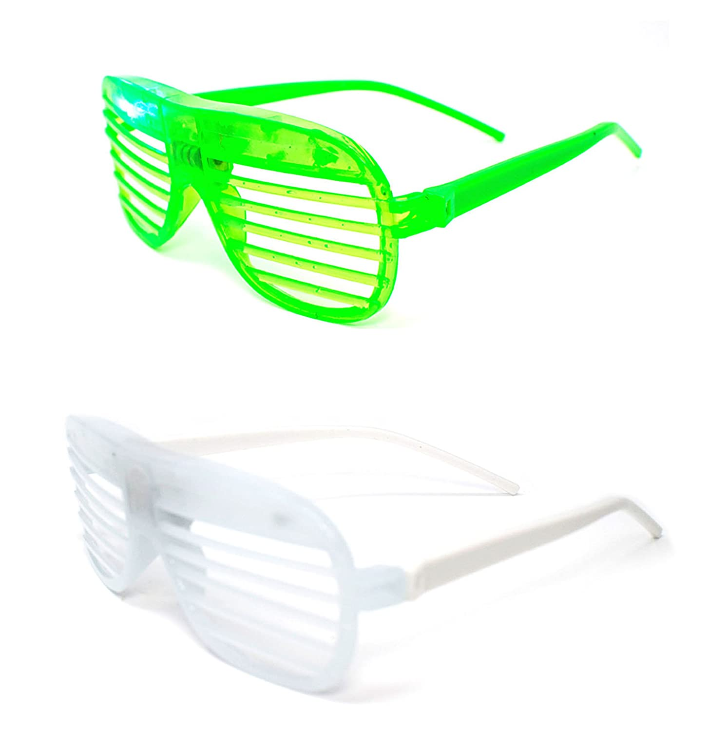 fae8a29714e Ultra ® Mixed pack of 2 Colours Flashing Retro LED Shutter Style Glasses  Slotted for Adults