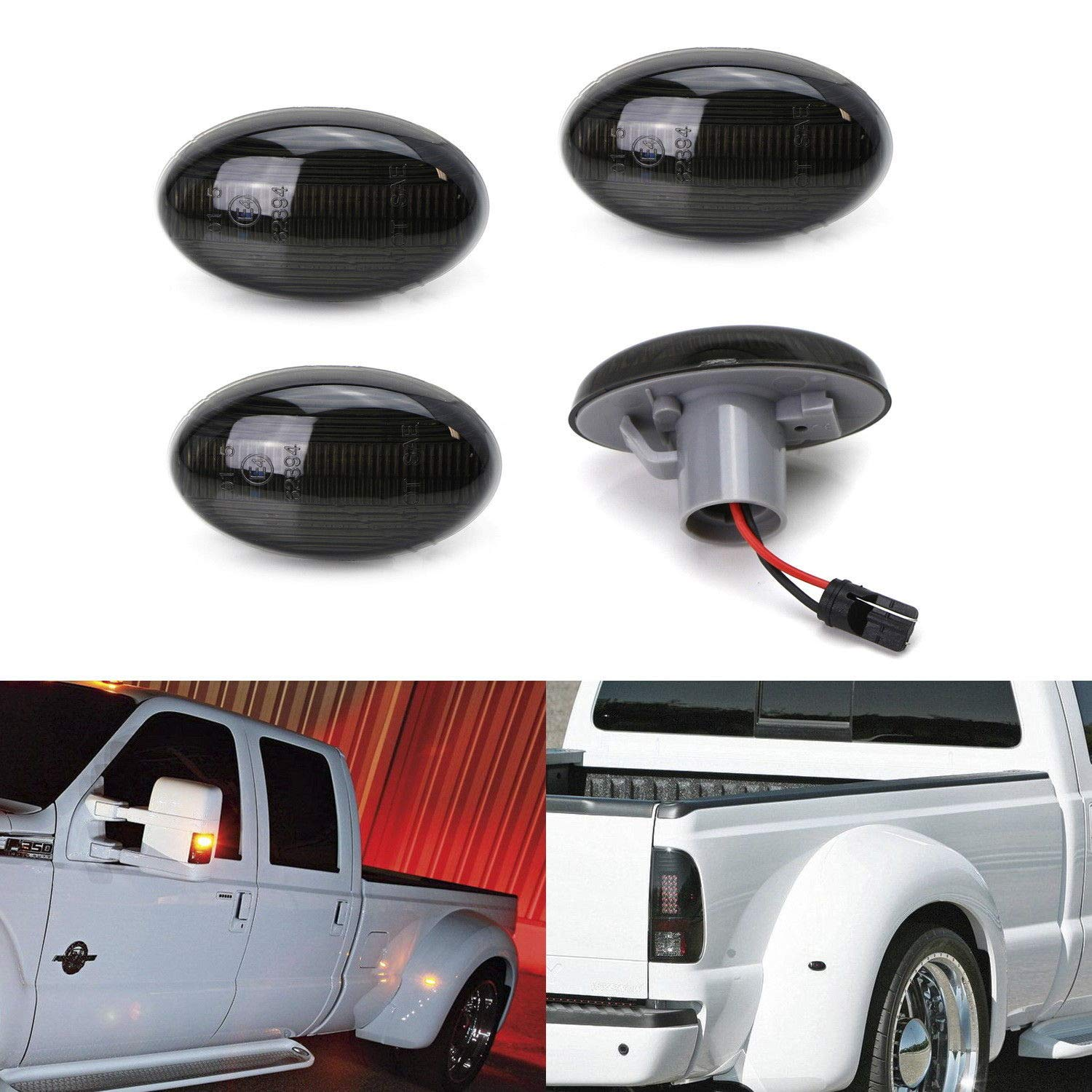 iJDMTOY Smoked Lens Amber/Red Full LED Trunk Bed Marker Lights Set For 1999-2010 Ford F350 F450 Super Duty Truck Double Wheel Side Fenders, Powered by Total 48 LED iJDMTOY Auto Accessories Rear Bed Fender Side Reflector LED Lamps