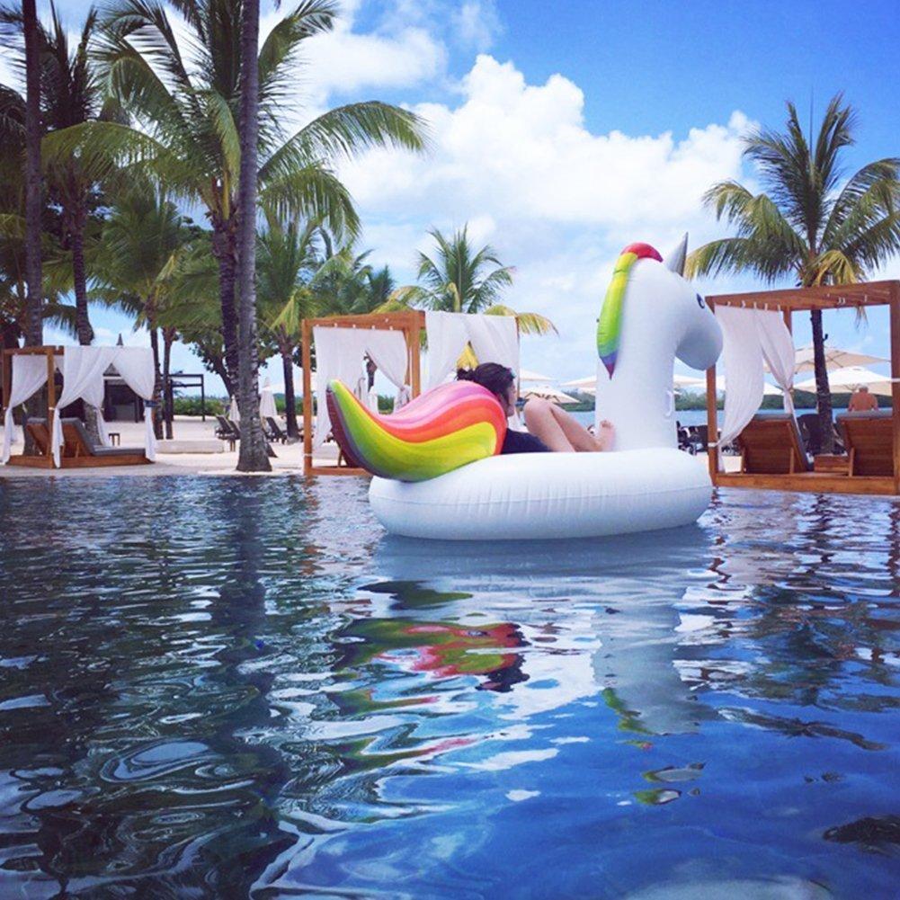 Jasonwell Unicornio hinchable colchonetas piscina Inflable flotador unicornio piscina para Adultos y