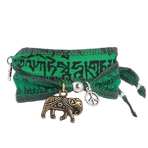 """Resultado de imagen de """"Water Elephant"""" - Pulsera de deseos y de la suerte, hecha con banderas de oración tibetanas. La tela de algodón de calidad es imprimida con mantras budistas. Una idea de regalo original para mujeres"""