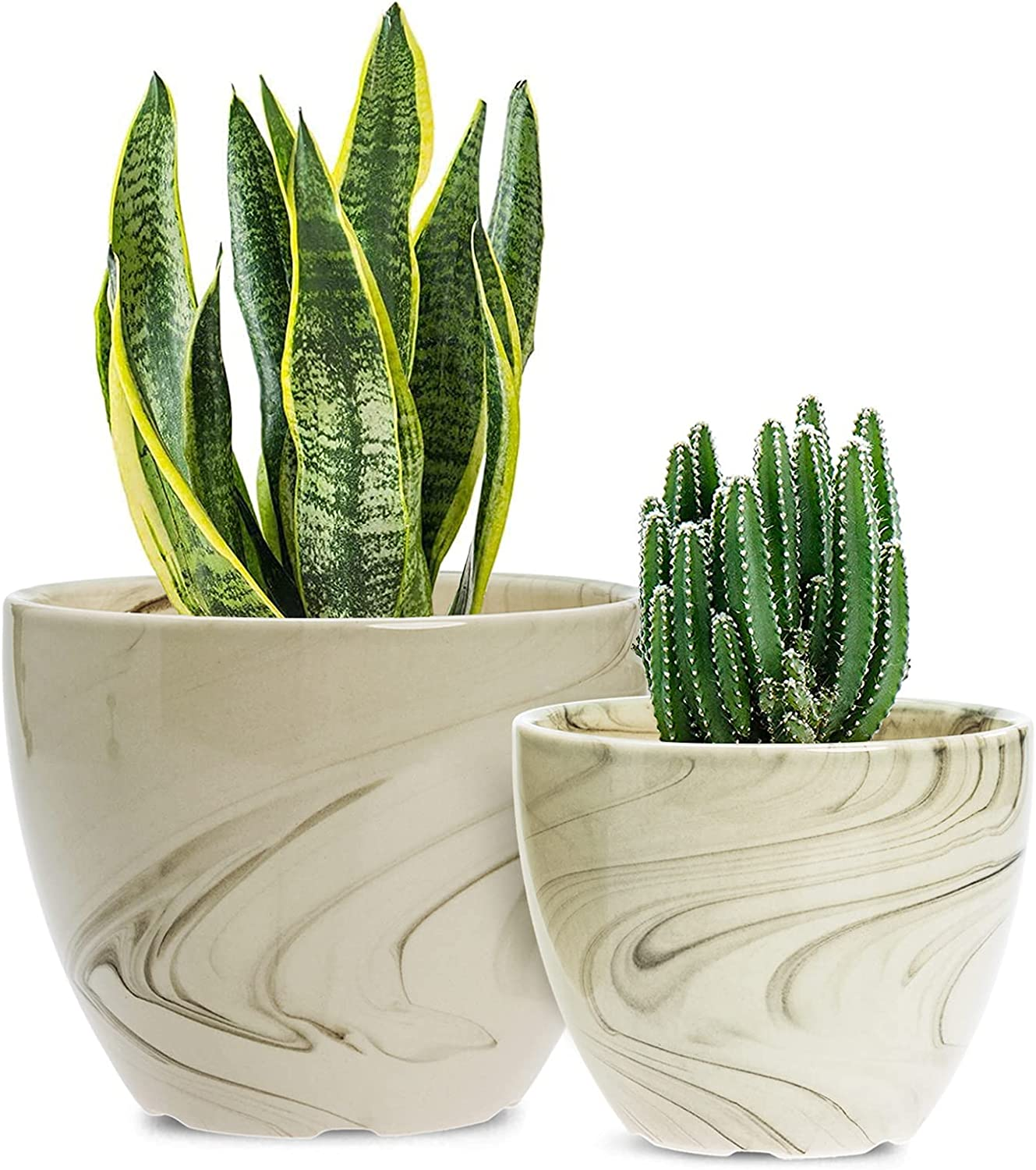 Ceramic Pots for Plants - 6.5 + 5.3 Inch Garden Planters with Drainage Holes and Saucers, Indoor Plant Containers with Beige and Handpainted Marble Ink Patterns