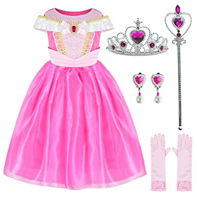 290d6dff2fa8 Amazon.com  Sleeping Beauty Princess Aurora Costume Girls Birthday Party  Dress Up With Accessories Age 3-12 Years  Clothing