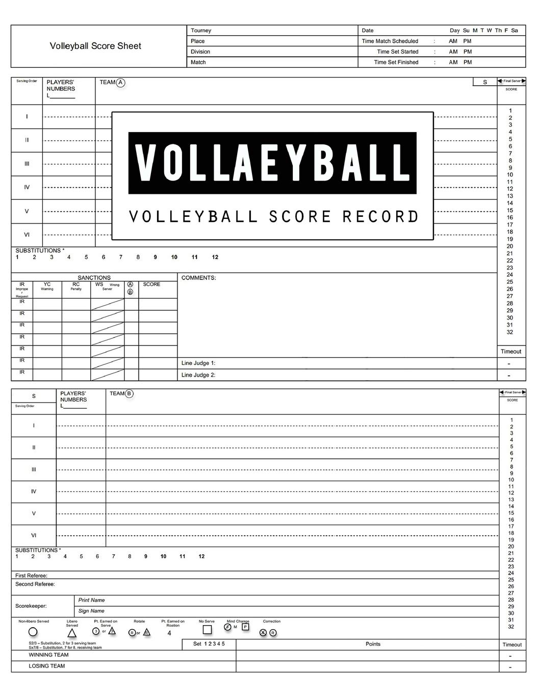 Buy Volleyball Score Record Volleyball Game Record Book Volleyball Score Keeper Spaces On Which To Record Players Substitutions Serves Points Sanctions Size 8 5 X 11 Inch 100 Pages Book Online At Low