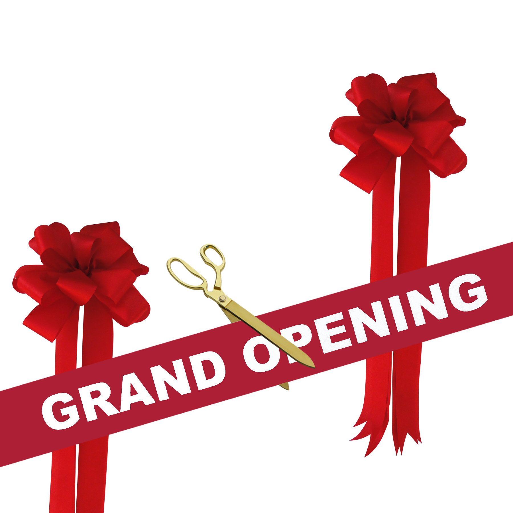 Grand Opening Kit - 15'' Gold Plated Ceremonial Ribbon Cutting Scissors with 5 Yards of 6'' Red Grand Opening Ribbon White Letters and 2 Red Bows
