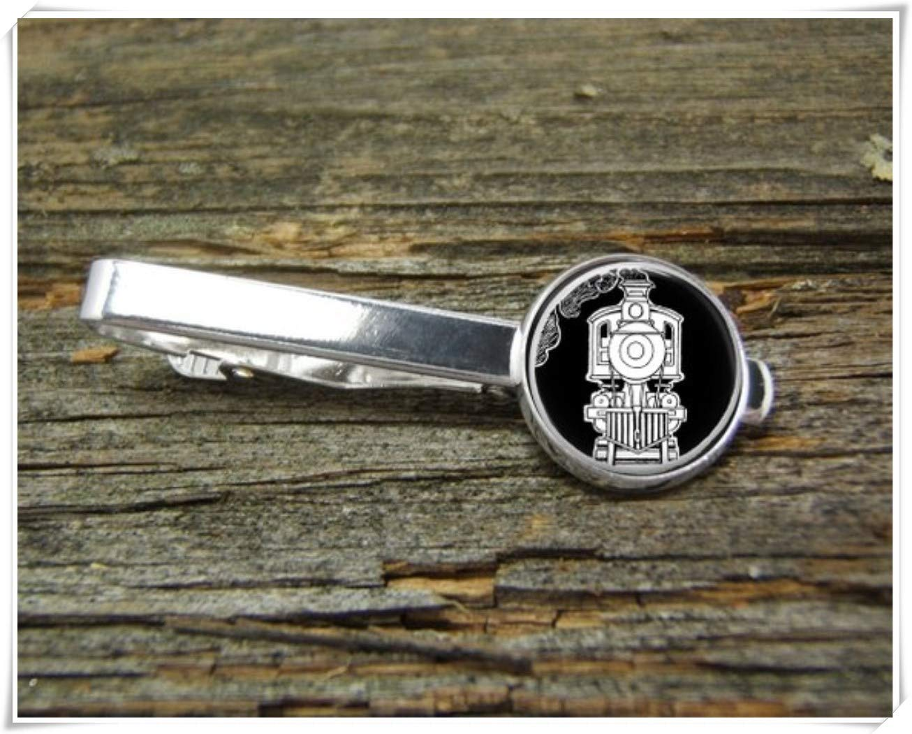 Fashion cool jewelry Train Tie Clip,Vintage Train Tie Clip,Man Gift,Dome Glass Ornaments, Pure Hand-Made