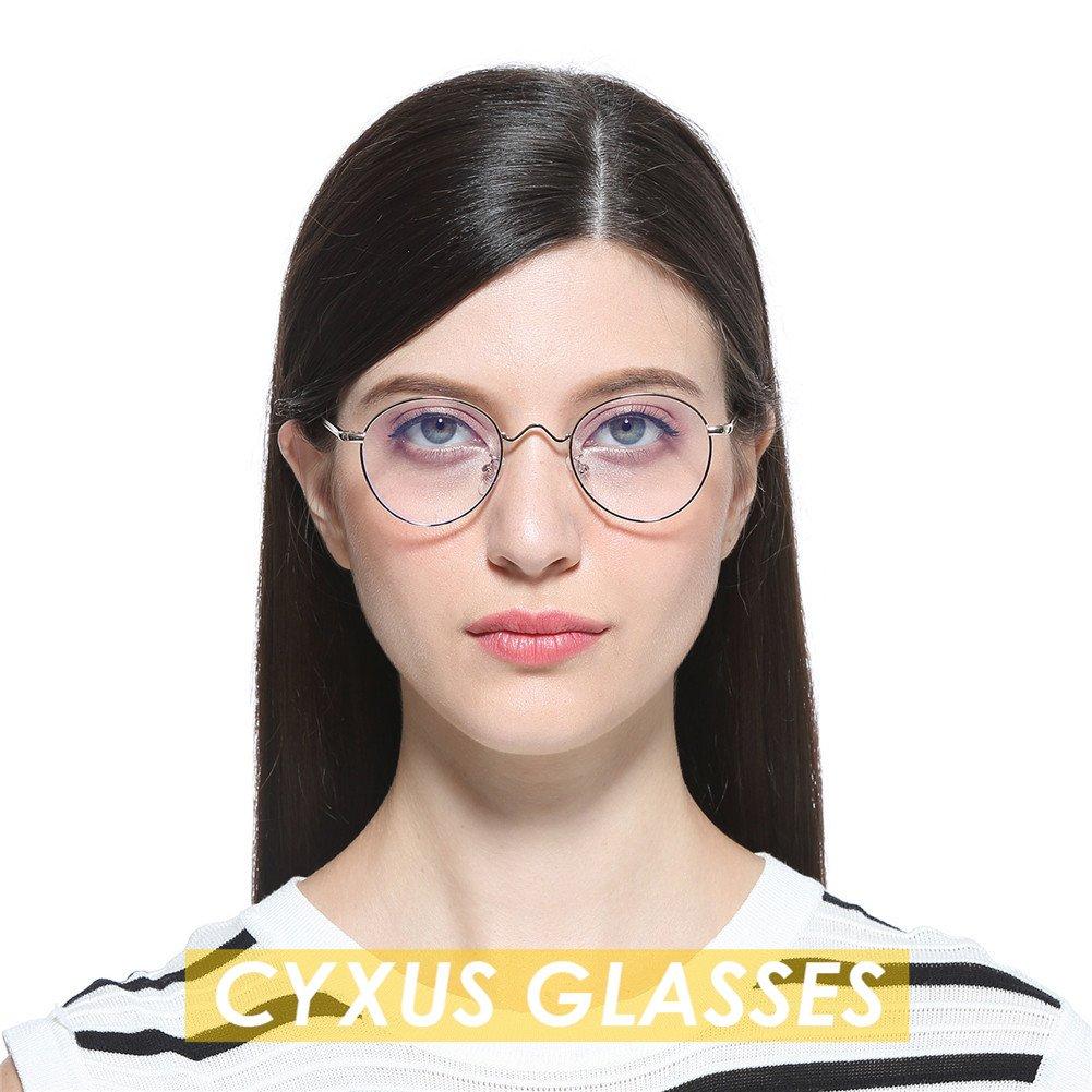 gold rahmen kein grad der gl/äser klar linse Cyxus runde brille transparente linse,gew/öhnliche gl/äser retro mode unisex brillen,