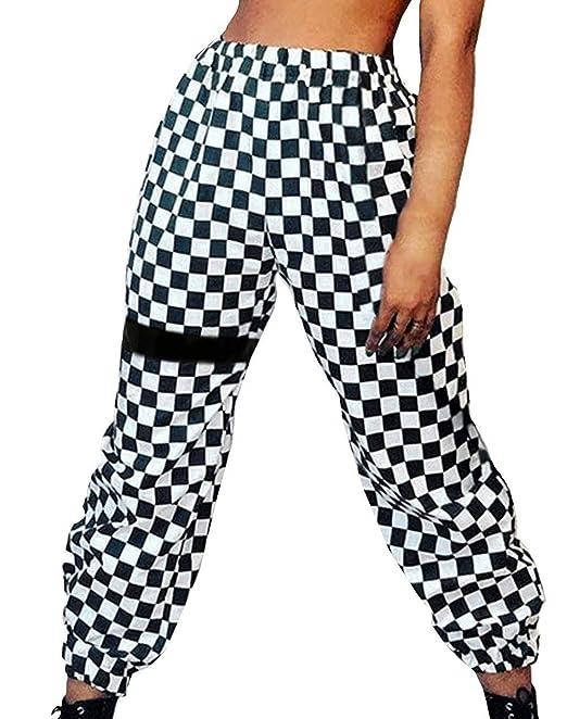 A Cuadros Hip Basicas Disfraz De Pantalones Hop Verano Largos Mujer Moda Trousers Elastisch Pants Casuales Tela Elegantes Bund m80OvNnw