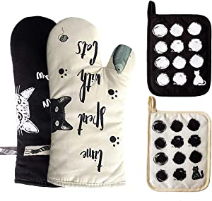 WAEKIYTL Oven Mitts and Pot Holders 4PCS Set Heat Resistant Gloves to Protect Hands Soft Cotton Lining Oven Gloves for Safe BBQ Cook Baking Grilling