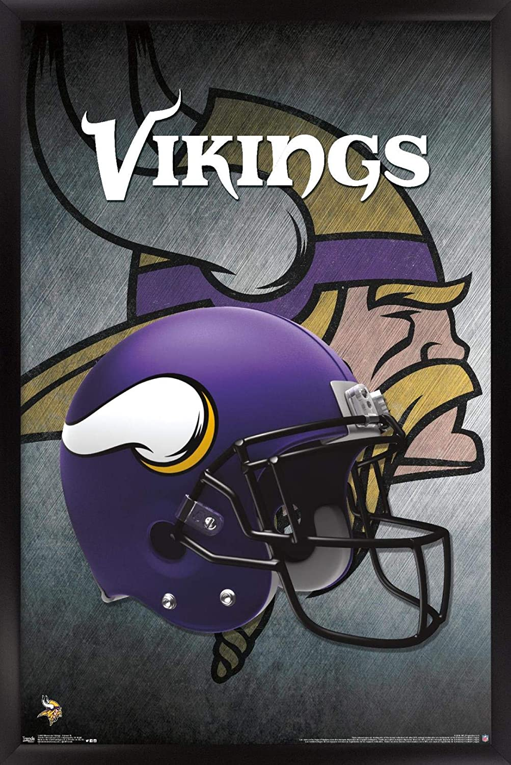 "Trends International NFL Minnesota VIkings - Helmet 16 Wall Poster, 22.375"" x 34"", Black Framed Version"
