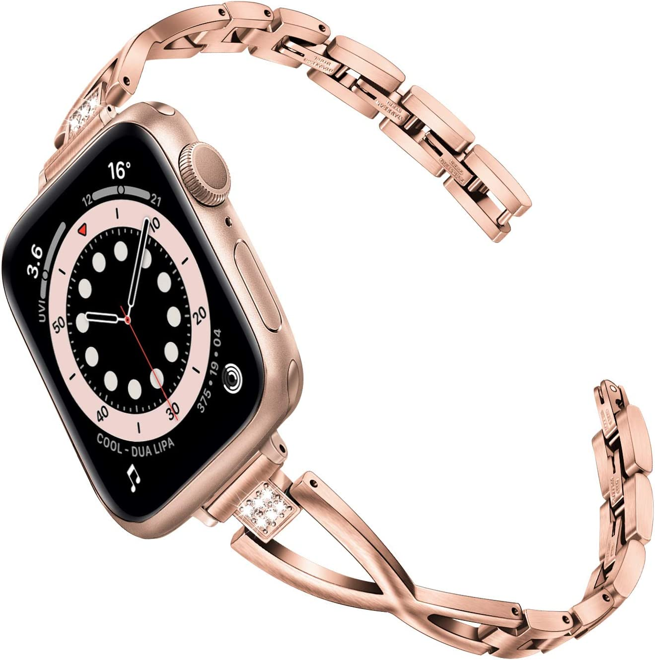TRUMiRR Women Band for Apple Watch Series 6 / SE 40mm 38mm, Slim X-Link Stainless Steel & Rhinestone Diamond Watchband Bling Rose Gold Strap for iWatch Apple Watch SE Series 6 5 4 3 2 1 40mm 38mm