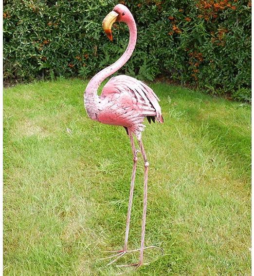 Figura decorativa de flamenco rosa para jardín, diseño de cuadros, metal envejecido, acabado oxidado, metal, Rusty Pink, grande: Amazon.es: Jardín