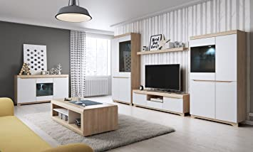 Wohnzimmer Komplett - Set B Bizerte, 6-teilig, Farbe: Buche / Weiß ...
