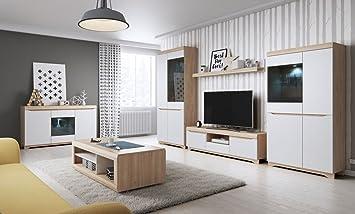 Wohnzimmer Komplett Set | Wohnzimmer Komplett Set B Bizerte 6 Teilig Farbe Buche Weiss