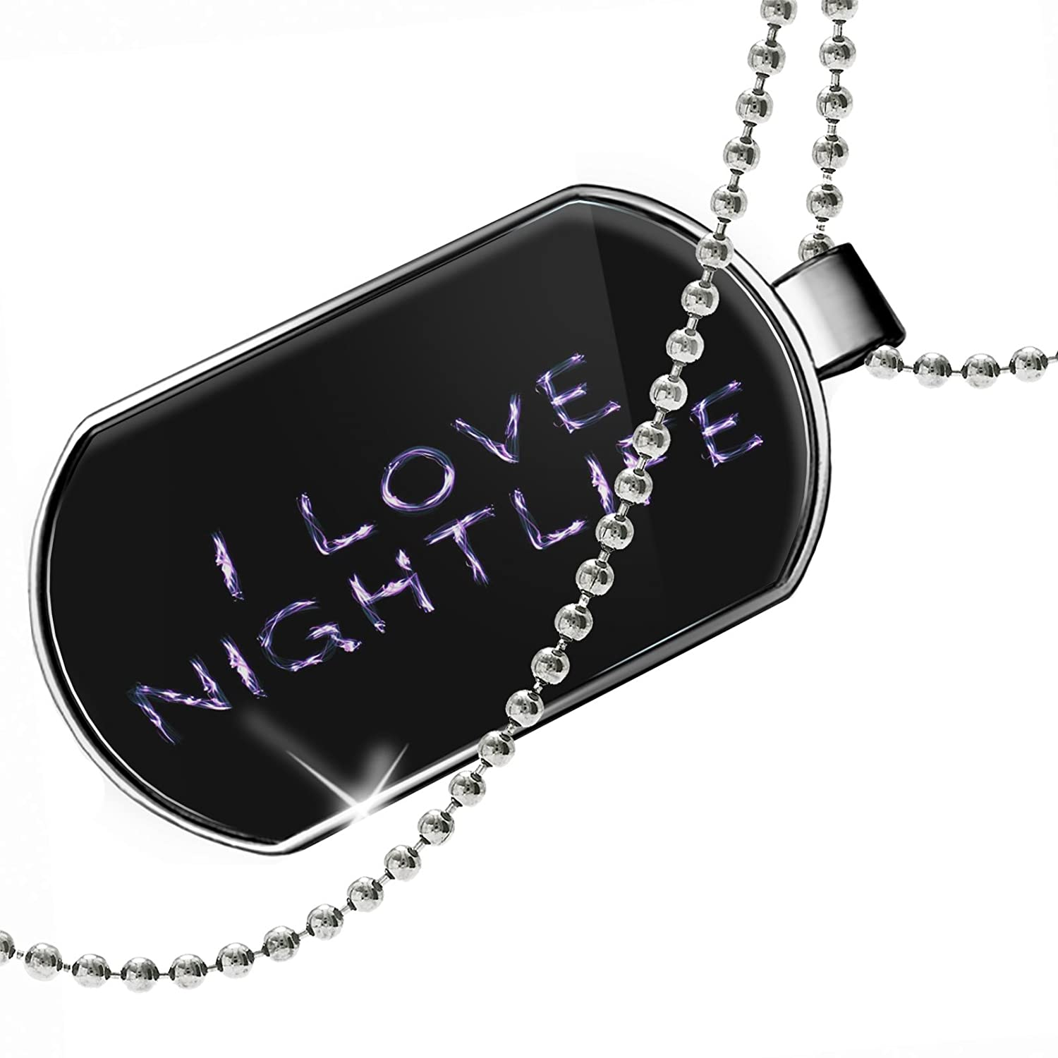 NEONBLOND Personalized Name Engraved I Love Nightlife Neon Light Graffiti Dogtag Necklace