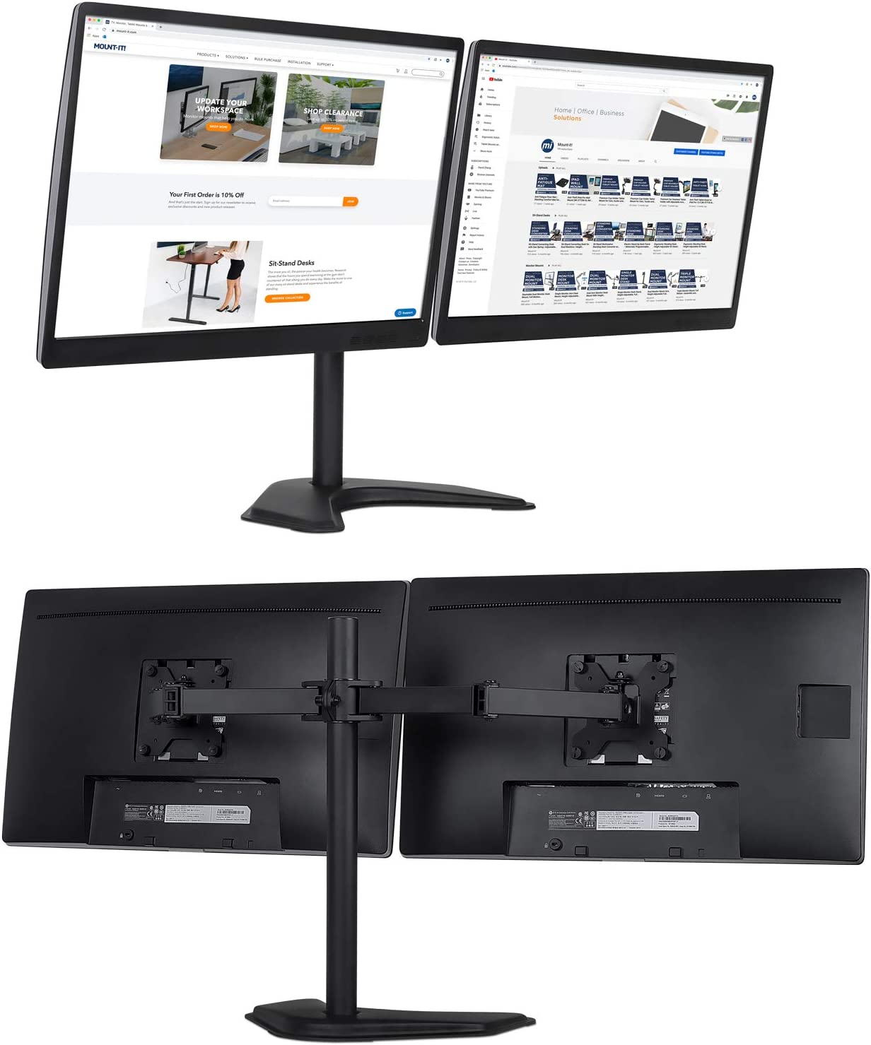 Free Standing and Grommet Bases 2 Monitor Mount Fits 19 20 21.5 24 27 29 32 Inch Computer Screens Mount-It Dual Monitor Stand VESA Compatible Two Heavy Duty Tilt Swivel Height Adjustable Arms