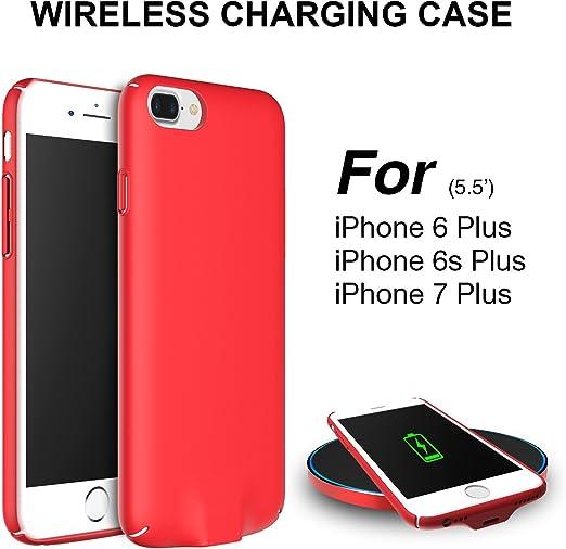 Coque récepteur chargeur sans fil, Qi récepteur de chargement sans fil Coque arrière léger et ultra fin pour iPhone 6 Plus/6s Plus/7 Plus – Rouge pour ...