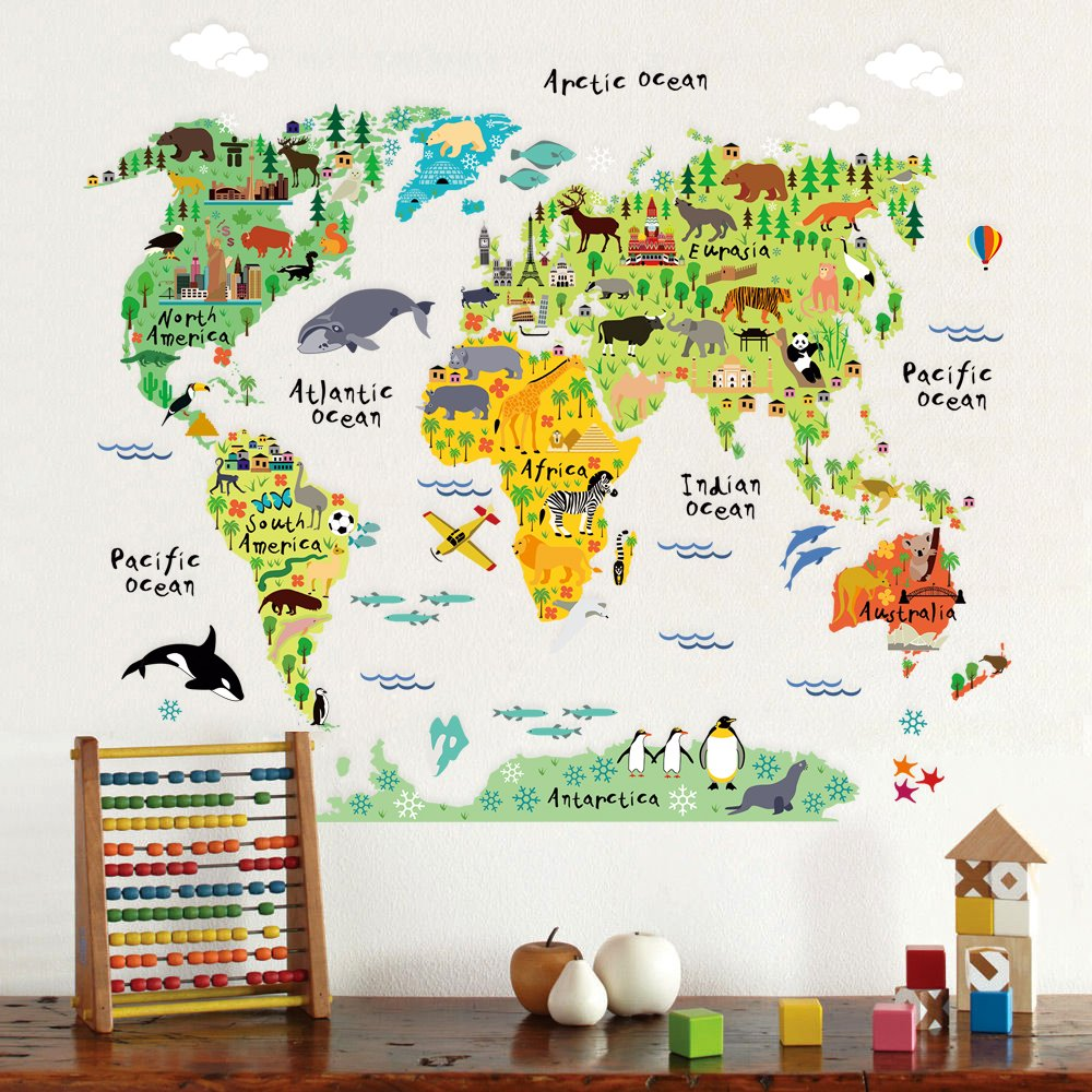 Australia Map Landmarks.Details About Homeevolution Large Kids Educational Animal Landmarks World Map Peel Stick Wall