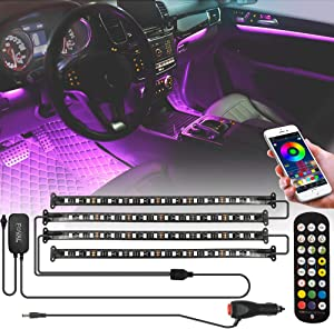 FOVAL Car Led Lights, 4pcs 72 LEDs(18×4) APP Controller Car Interior Lights, Under Dash Atmosphere Lights Remote Control Multicolor Music for iPhone Android Phone, Car Charger Included, DC 12V