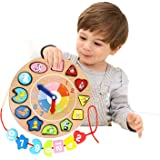 Lewo Wooden Educational Toys Shapes Sorting Teaching Clock Lacing Beads Games for Kids