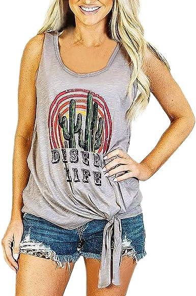 t-Shirt Femme Coton Motif Imprime sans Manches