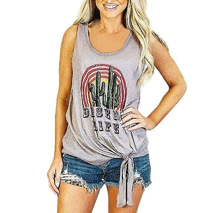 Wave166 Camisetas sin Mangas Mujer Casual Verano Mujeres sin ...