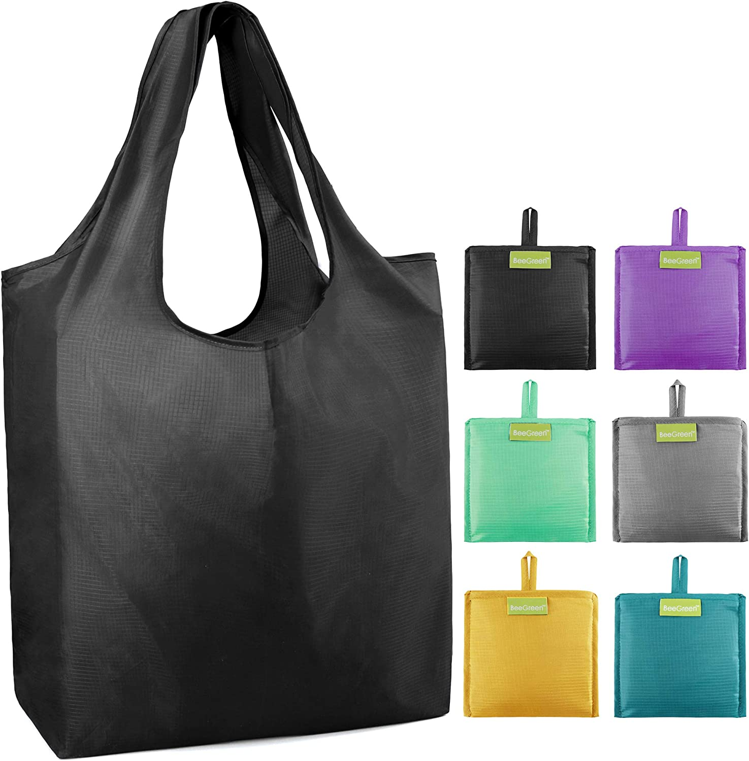 Reusable Grocery Shopping Bags 6 Pack Ripstop 50LBS Large Shopping Totes with Pouch Bulk Machine Washable Gift Bags Black Purple Gray Yellow Teal Mint Green