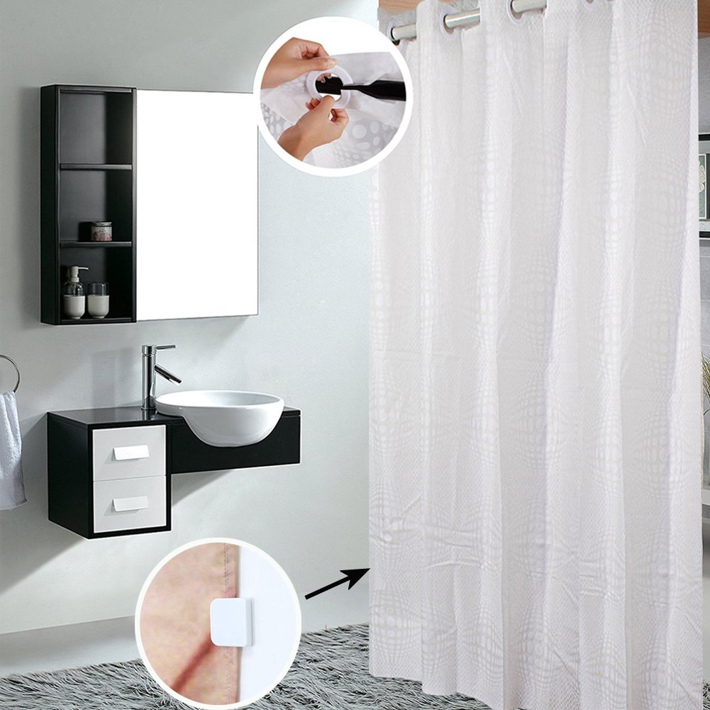 Shower Curtain Hookless, Water Repellent Shower Curtain Liner Mildew Resistant Washable PEVA Shower Stall Curtain with Shower Curtain Splash Clips for Bathroom Hotel Spa 72x74 inch