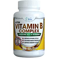Super B Complex Vitamins (100-Count) - All B Vitamin High Potency Capsules Reduce Stress More Energy Plus Sustained Release Pure B-Complex