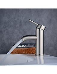 """Beelee 6.7"""" Centerset Single Handle Bathroom Sink Faucet Solid Brass Basin Mixer Taps,Brushed Nickel"""