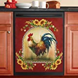 Sunflower And Rooster Country Dishwasher Magnet, Red
