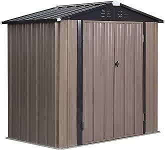 PUPZO Storage Shed Steel Metal with Lock Waterproof Outdoor Backyard Garden House Lawn Tool Brown (6'W x 4'D x5.8'H)