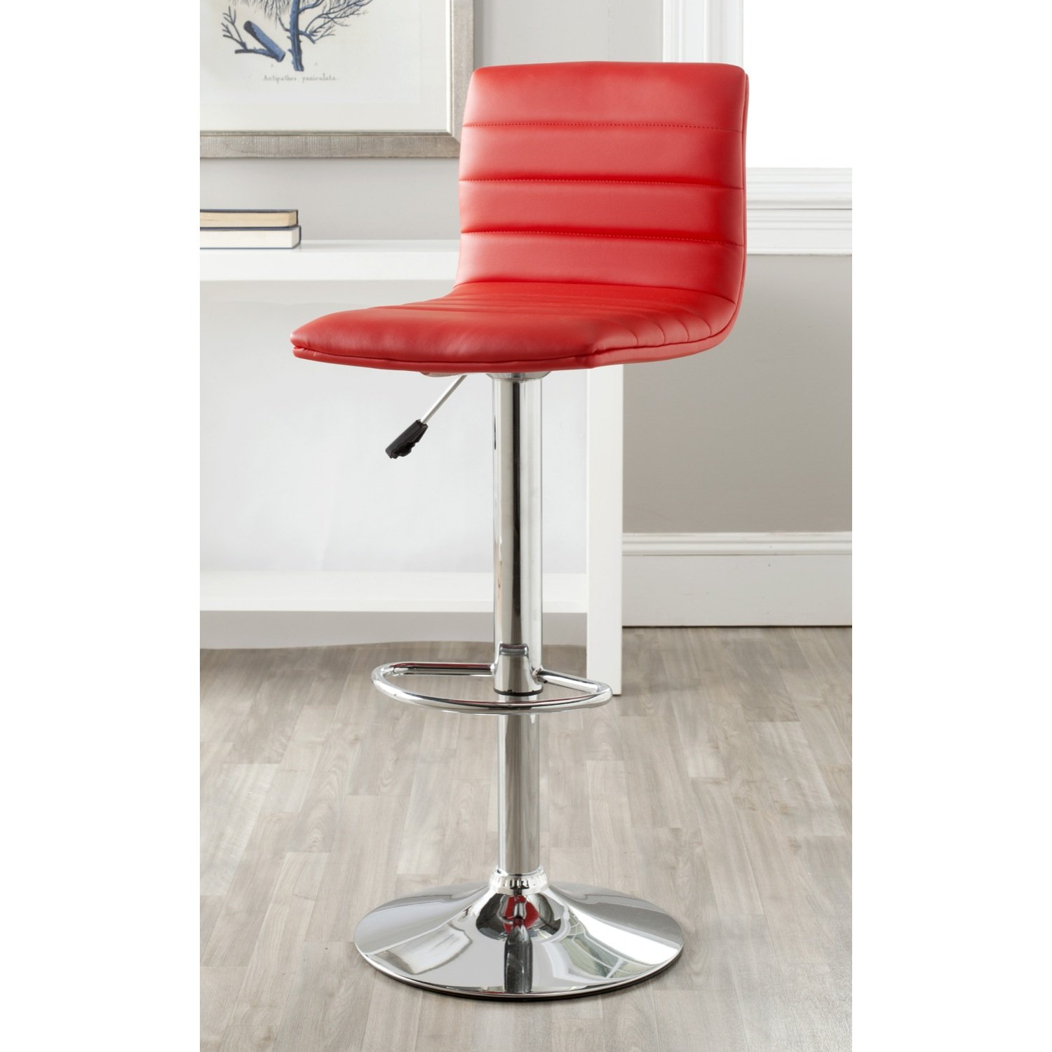 Safavieh Home Collection Arissa Red Adjustable Swivel Gas Lift 23.8-29.9-inch Bar Stool
