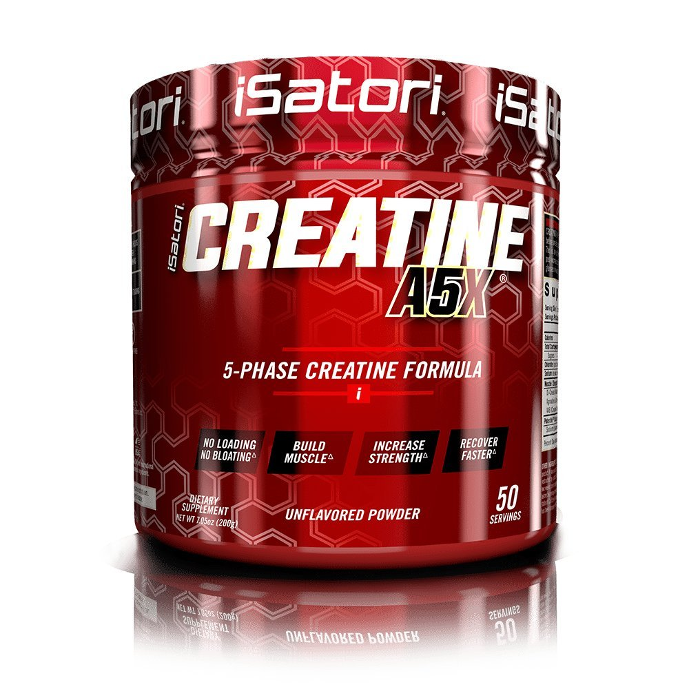 iSatori Creatine A5X Advanced 5-Phase Creatine Powder For Muscle Growth, Strength Buidling And Improved Recovery - Dietary Supplement For Training And Weight Lifting - Unflavored - 50 Servings by iSatori