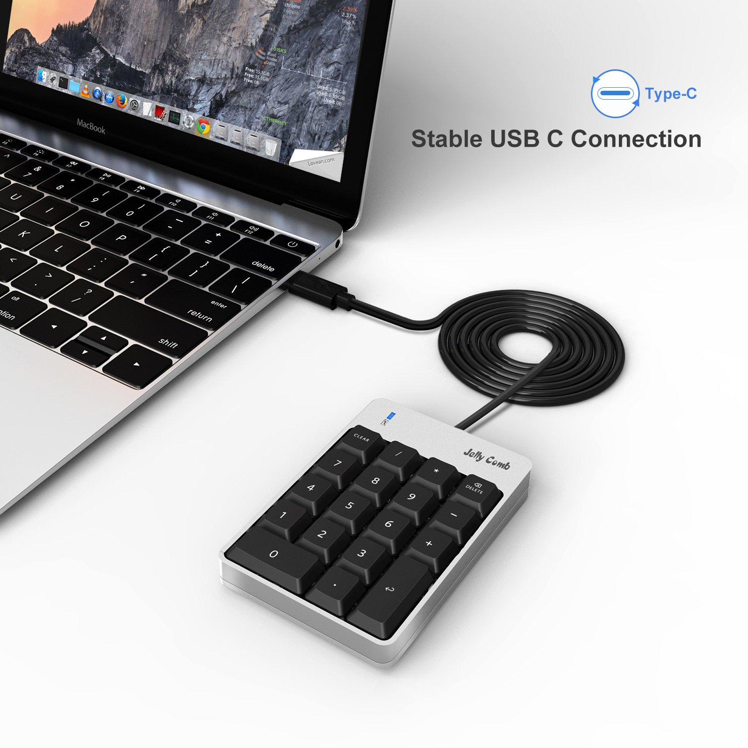 Jelly Comb Numeric Keypad for MacBook, Type C Number Pad, Portable Mini Wired 18-Key USB C Number Pad for Mac, Mac Pro, MacBook, MacBook Pro 2016/2017, iMac, iMac Pro by Jelly Comb (Image #2)