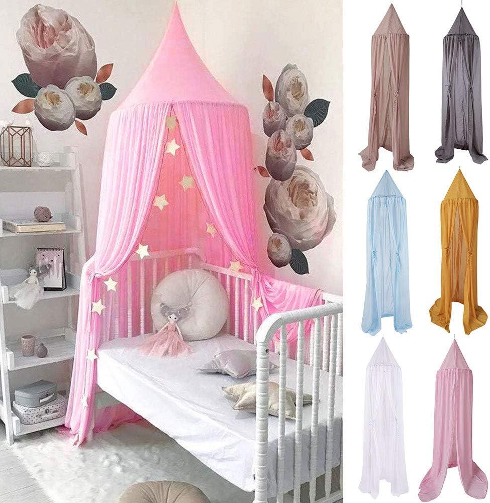 bdrsjdsb 240cm Chiffon Bed Curtain Canopy Hanging Summer Mosquito Net Decor for Kids Children Bedroom Blue