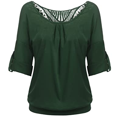 b2dedcc00b4f8 Meaneor Womens Half Sleeve Slim Shirts Cute Backless Hollow Tops ...