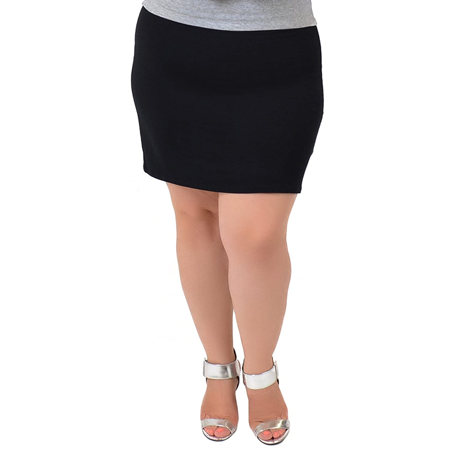 63a725420cc48 Stretch is Comfort Women s Plus Size Soft Stretch Fabric Basic Mini Skirt  at Amazon Women s Clothing store