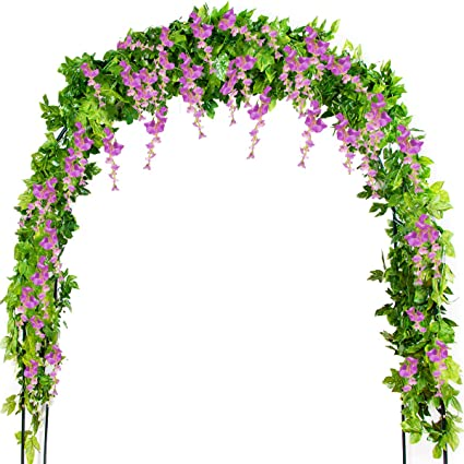 Artificial Decorations Home & Garden Nice Flower Rattan Party Decorative Artificial Wisteria Vine Trailing Outdoor Garland Foliage Plants Silk Cloth Wall Hanging Home