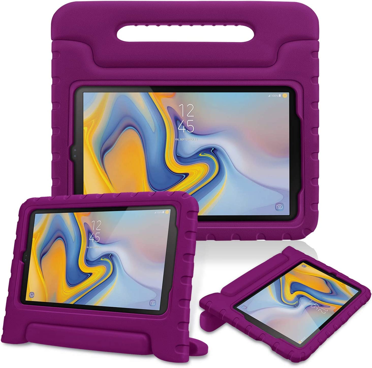 Fintie Shockproof Case for Samsung Galaxy Tab A 8.0 2018 Model SM-T387 Verizon/Sprint/T-Mobile/AT&T, Kiddie Series Light Weight Convertible Handle Stand Kids Friendly Cover, Purple